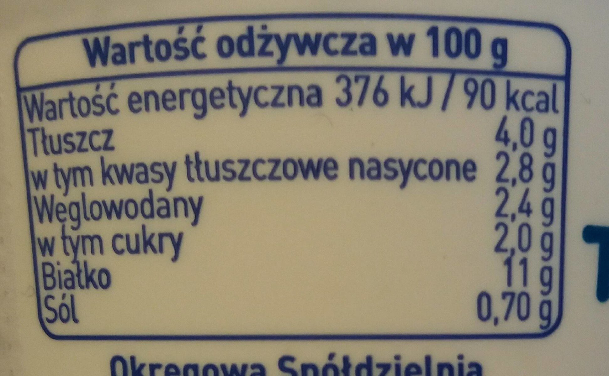 Twarożek Domowy grani naturalny - Nutrition facts - pl