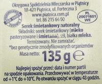Serek śmietankowy naturalny - Składniki - pl