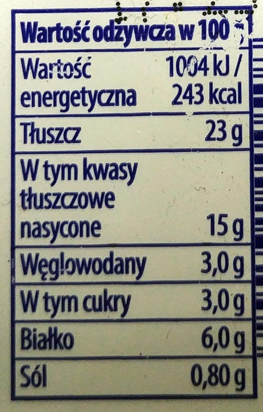 Serek śmietankowy naturalny - Wartości odżywcze - pl