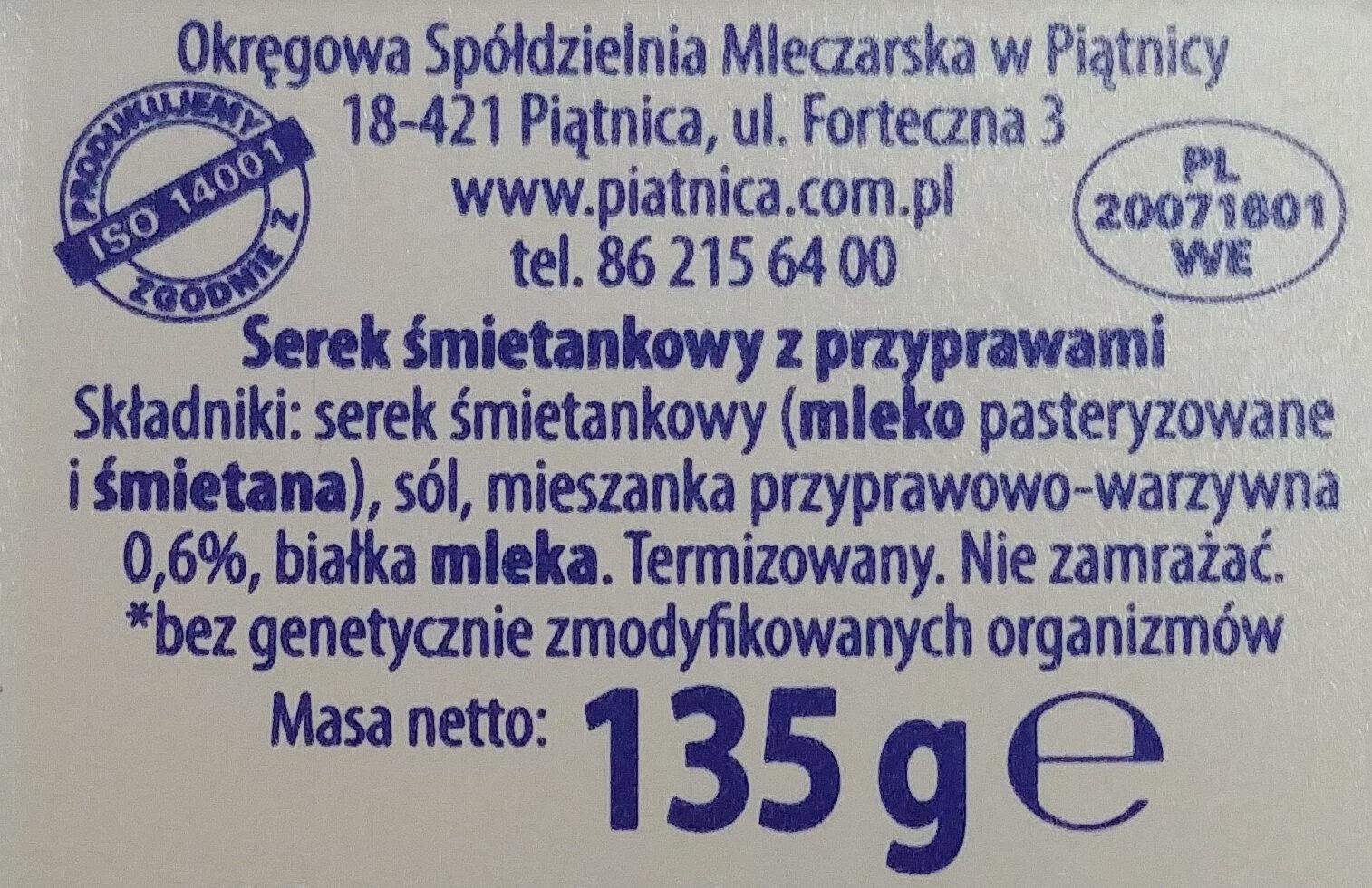 Serek śmietankowy z przyprawami - Składniki - pl