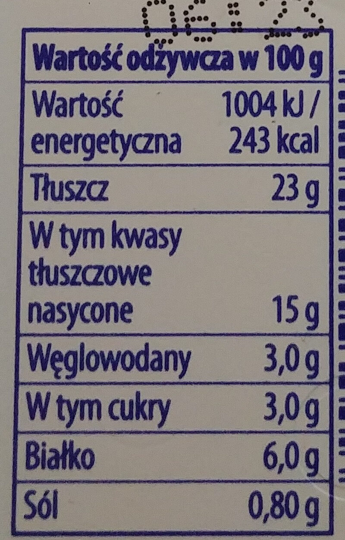 Serek śmietankowy z przyprawami - Wartości odżywcze