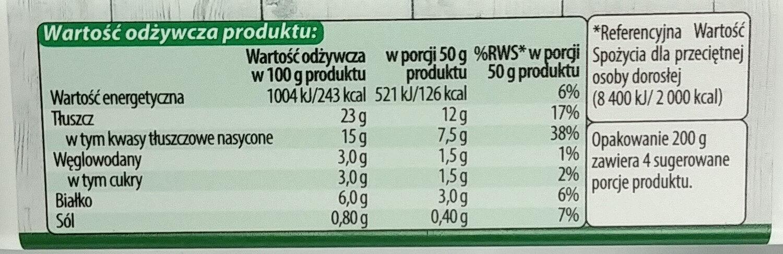 Serek śmietankowy - Wartości odżywcze - pl