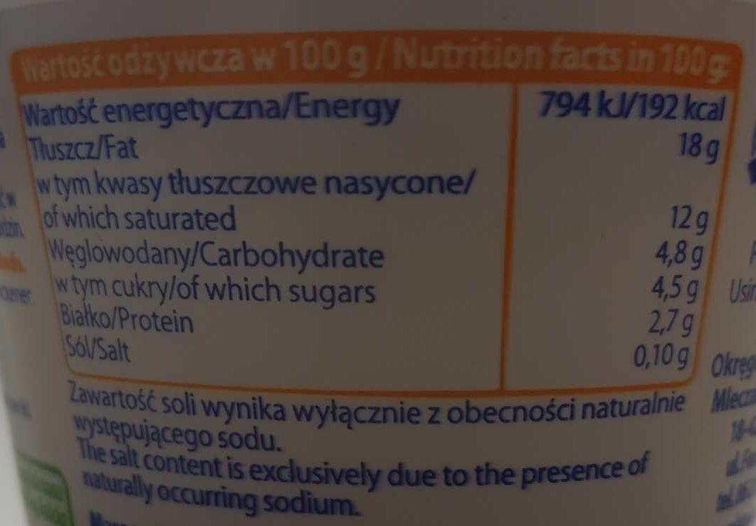 Smietanka Do Zupy (18%) - Wartości odżywcze