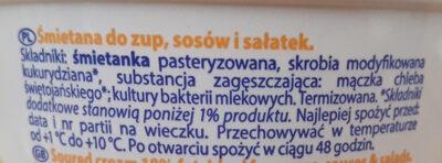 Śmietana 18% - Składniki - pl