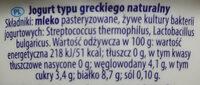 Jogurt typu greckiego 0% - Składniki - pl