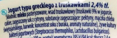 Jogurt typu greckiego z truskawkami 2,4% tłuszczu - Składniki - pl