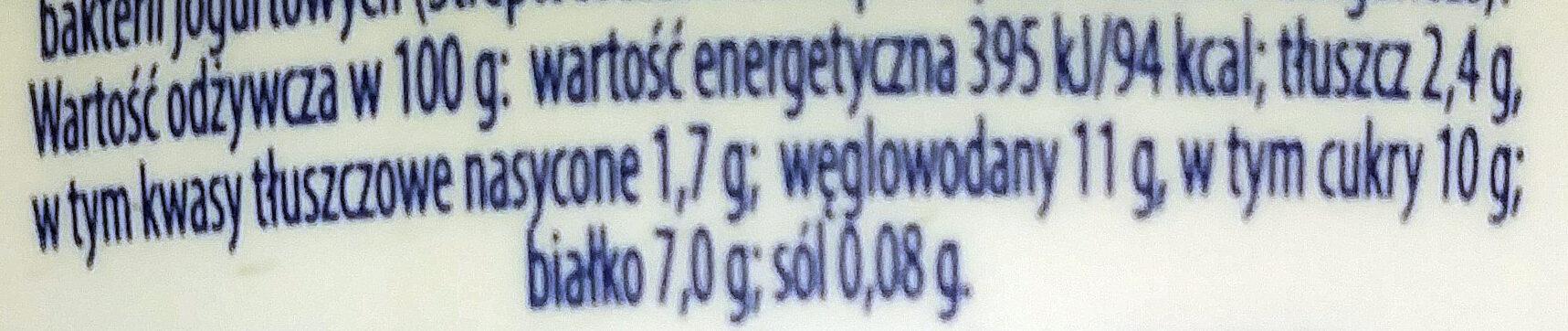 Jogurt typu greckiego z truskawkami 2,4% tłuszczu - Wartości odżywcze - pl