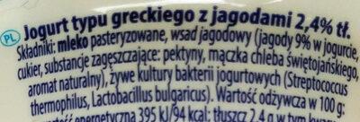Jogurt typu greckiego z jagodami 2,4% tłuszczu - Składniki - pl