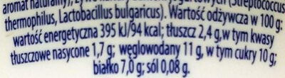 Jogurt typu greckiego z jagodami 2,4% tłuszczu - Wartości odżywcze - pl