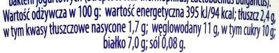 Jogurt typu greckiego z brzoskwinią i marakują 2,4% tłuszczu - Wartości odżywcze - pl