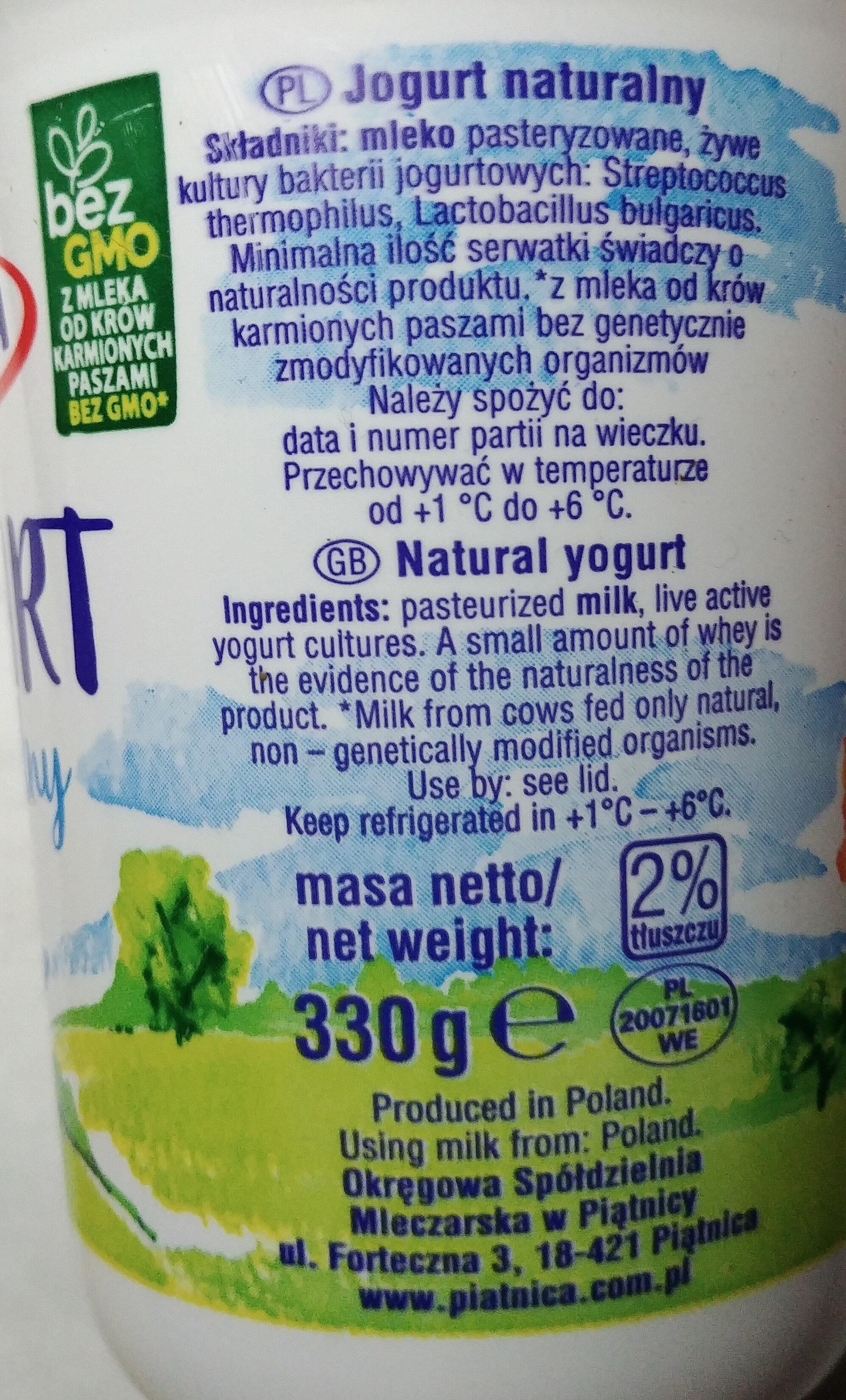 Jogurt naturalny - Składniki - pl