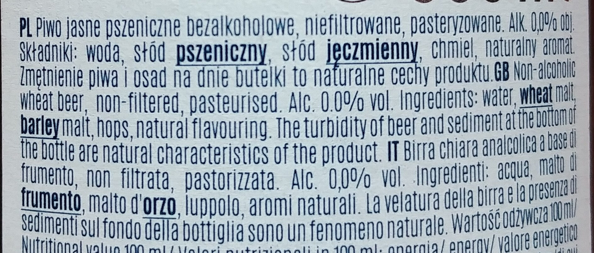 Bière sans alcool - Ingredients - it