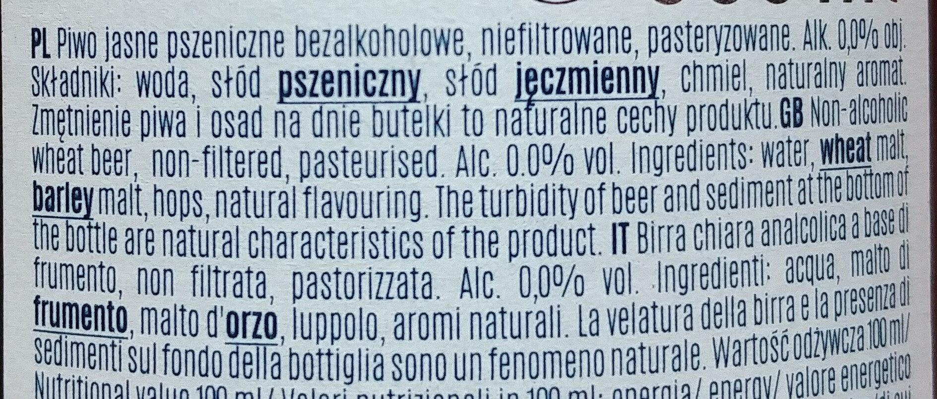 Birra analcolica - Składniki