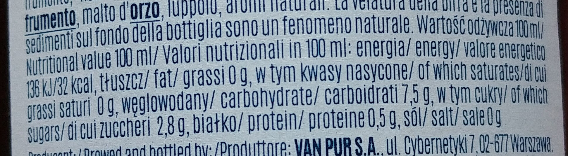 Bière sans alcool - Nutrition facts - it