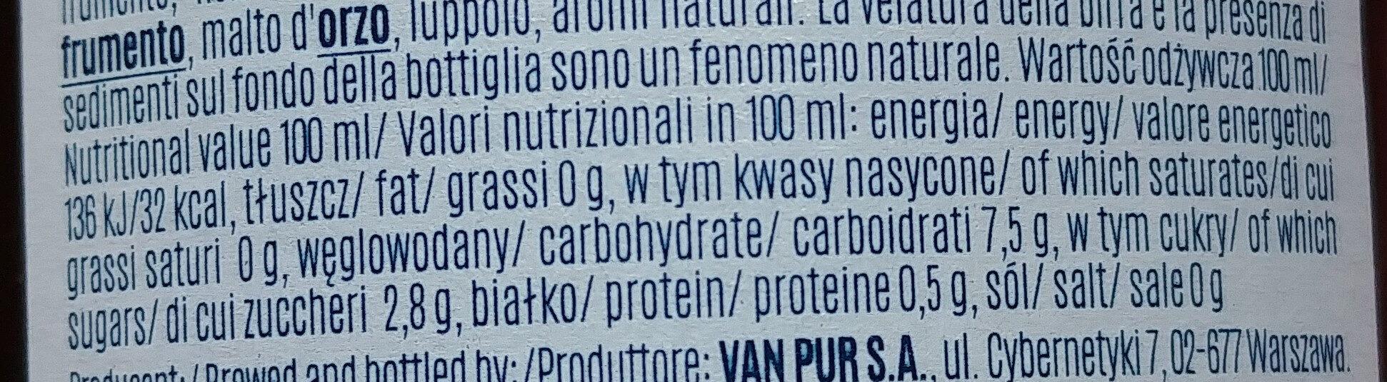 Birra analcolica - Wartości odżywcze