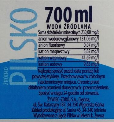 Woda źródlana niegazowana - Ingredients - pl