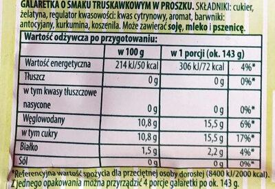 Galaretka o smaku truskawkowym w proszku. - Voedingswaarden