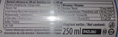 Black Energy zero sugar - Wartości odżywcze