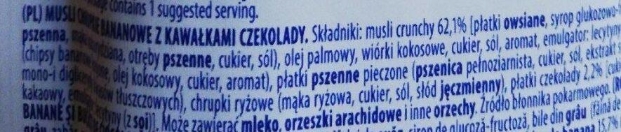 Musli chrupkie bananowe z kawałkami czekolady - Składniki - pl