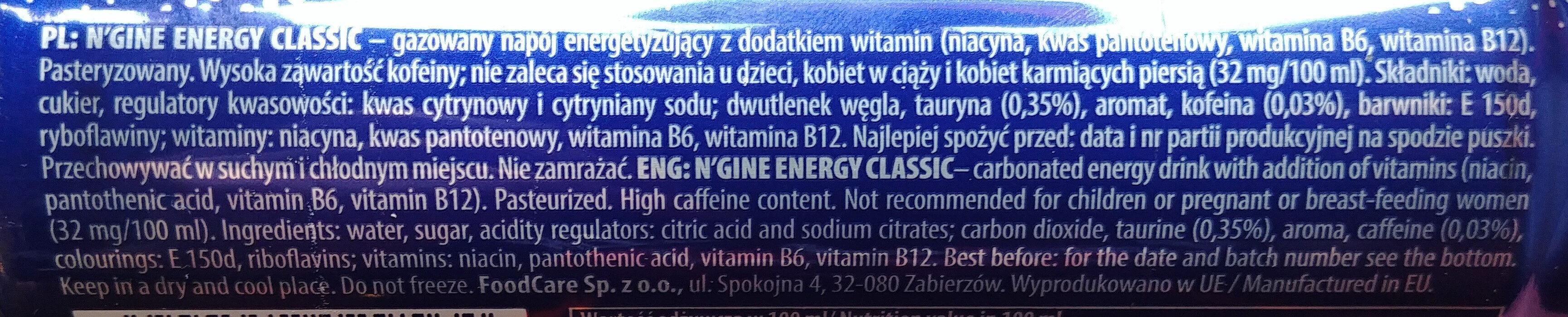 Gazowany napój energetyzujący z dodatkiem witamin - Ingredients - pl