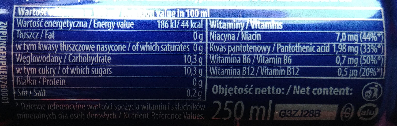 Gazowany napój energetyzujący z dodatkiem witamin - Nutrition facts - pl