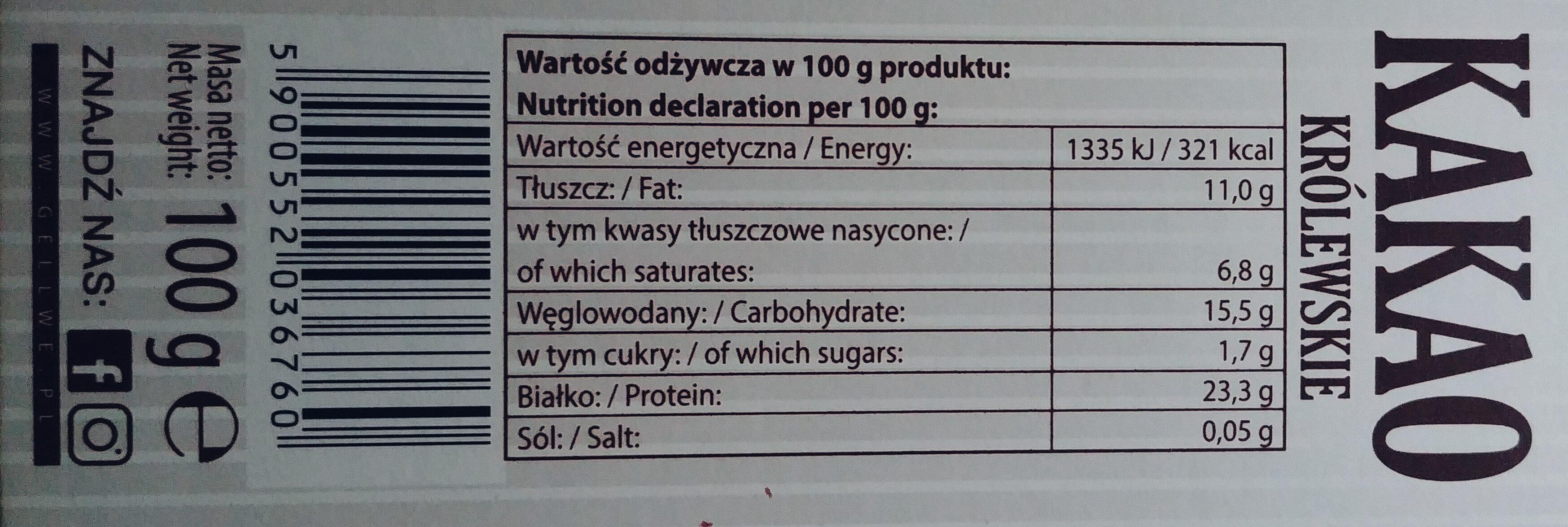 Kakao Royal o obniżonej zawartości tłuszczu - Wartości odżywcze