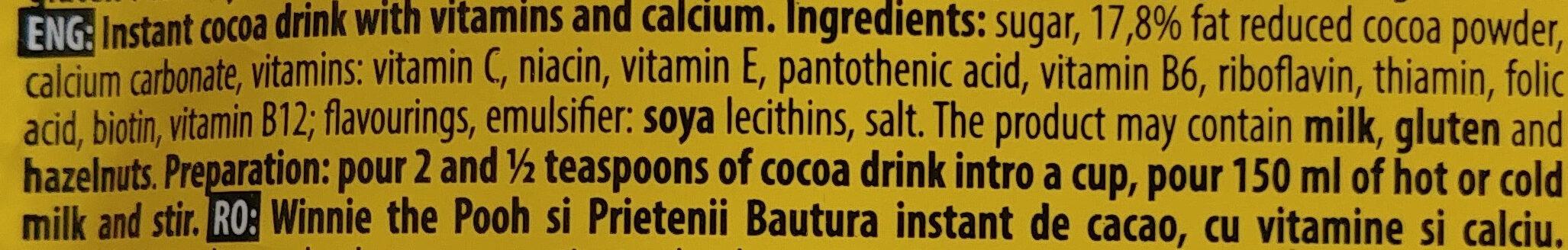 Kubuś i przyjaciele napój kakaowy instant z witaminami i wapniem. - Ingredients - en
