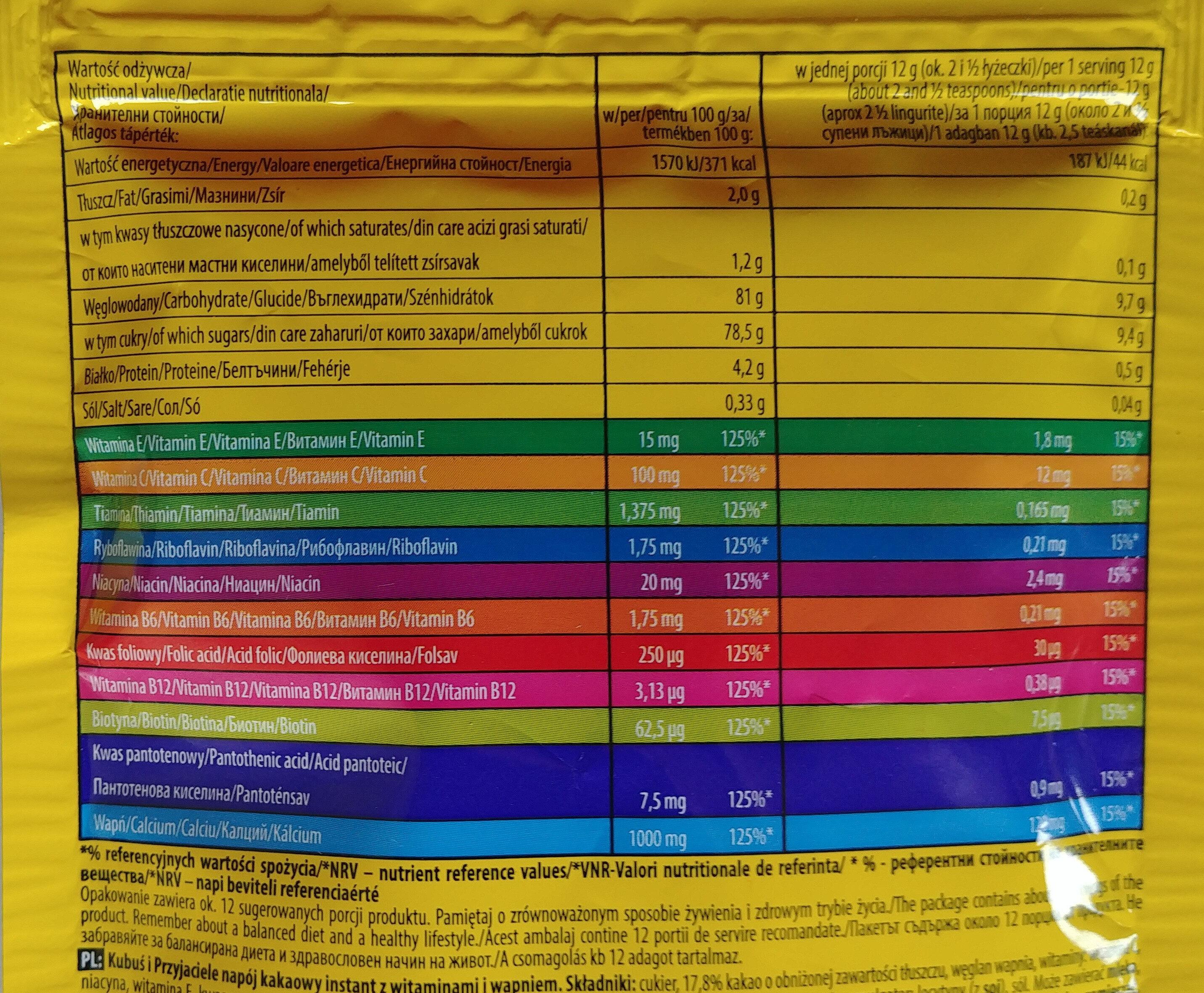 Kubuś i przyjaciele napój kakaowy instant z witaminami i wapniem. - Nutrition facts - en