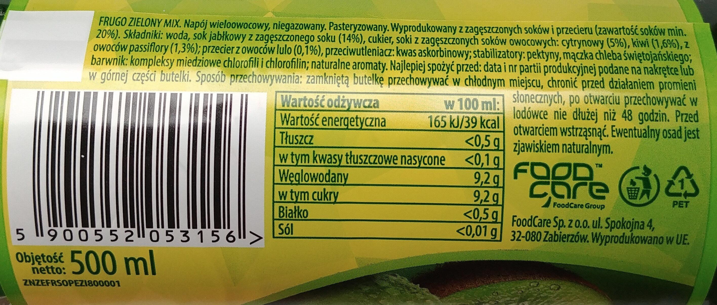 Napój wieloowocowy - Zielony mix - Nutrition facts - pl