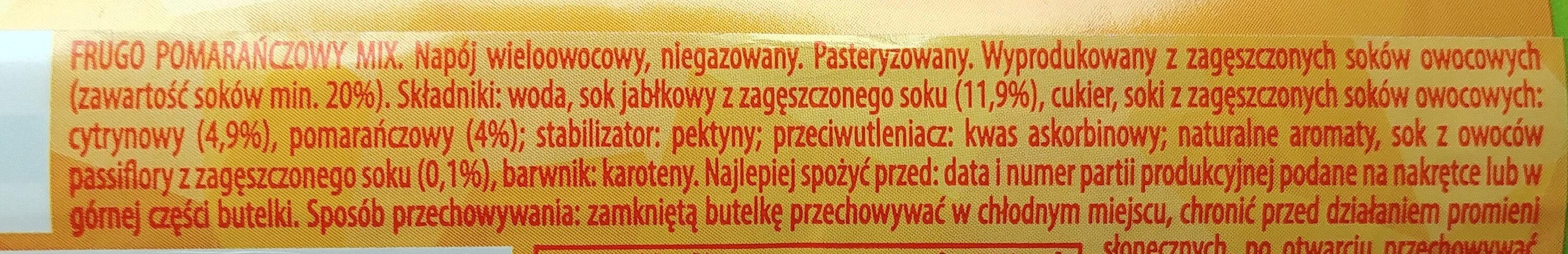 Napój wieloowocowy - pomarańczowy mix - Składniki - pl