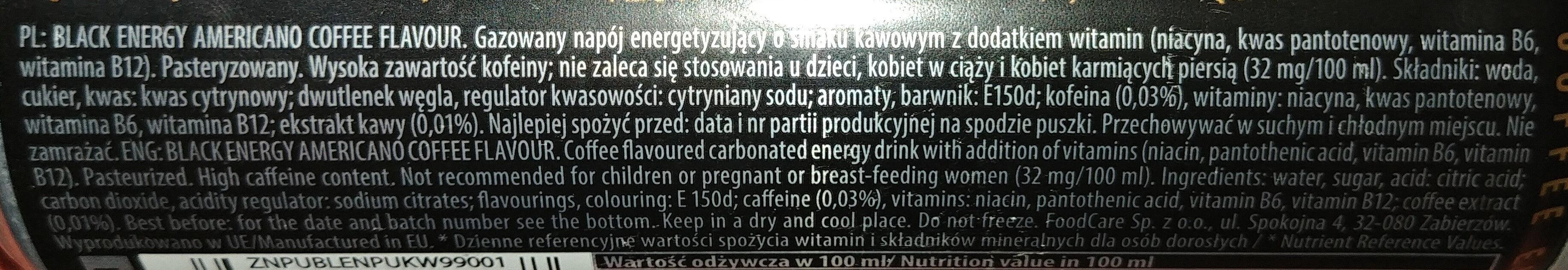 Gazowany napój energetyzujący o smaku kawowym z witaminami - Składniki - pl