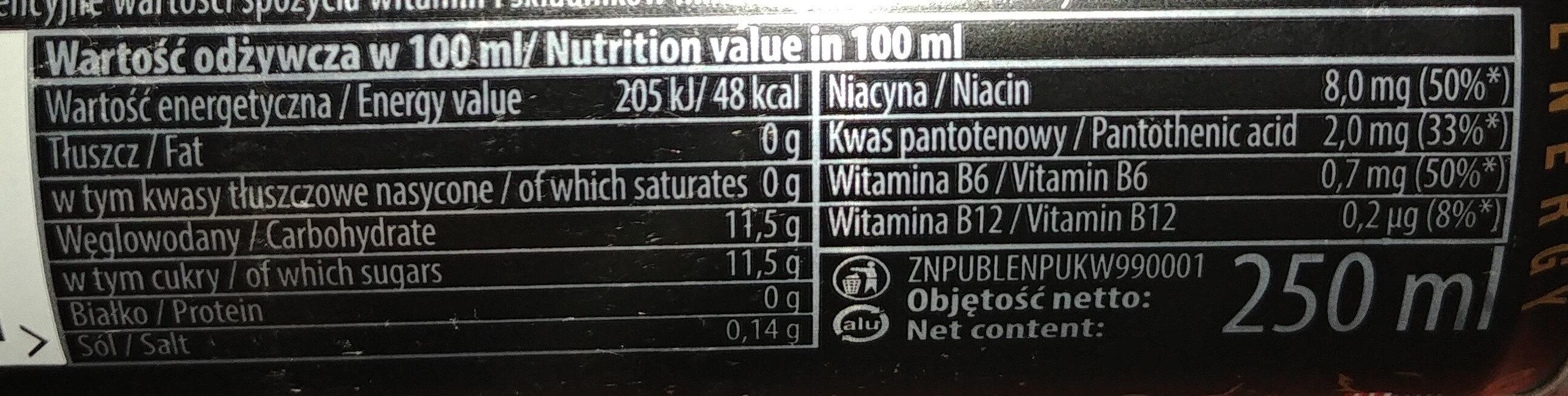 Gazowany napój energetyzujący o smaku kawowym z witaminami - Wartości odżywcze - pl