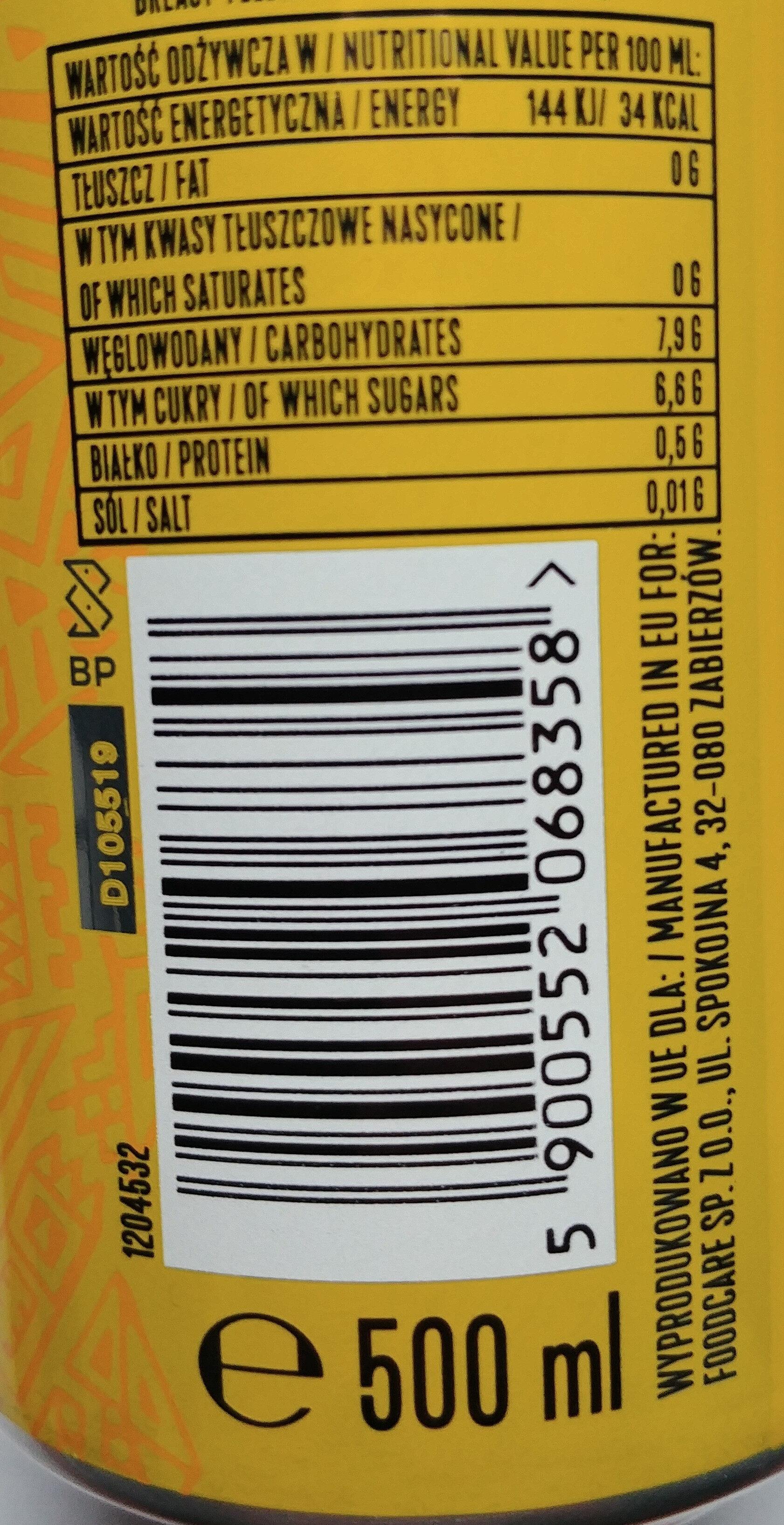 Napój piwny o smaku Tequili 0% alk. - Wartości odżywcze