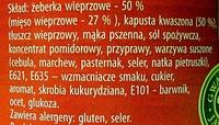 Żeberka wieprzowe z kapustą - Składniki