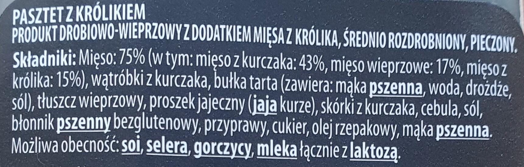 Pasztet z królikiem - Składniki - pl