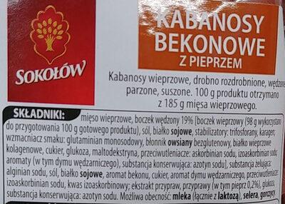 Kabanosy bekonowe z pieprzem - Ingredients - pl