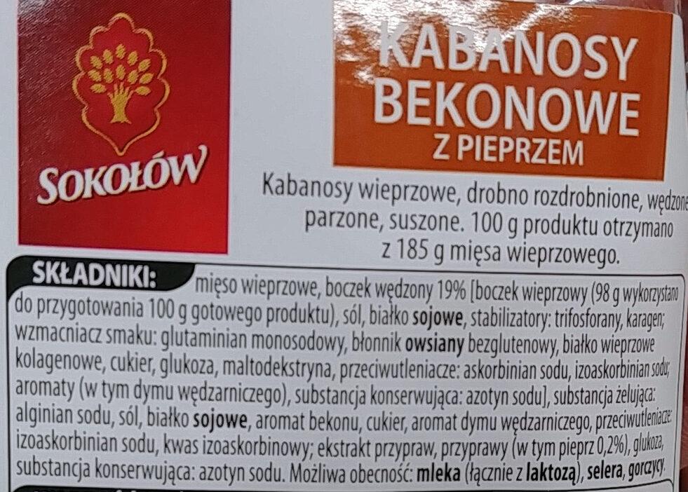 Kabanosy bekonowe z pieprzem - Składniki - pl