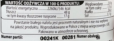 Kabanosy bekonowe z pieprzem - Nutrition facts - pl