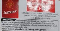 Kabanos Chili - Ingredients - pl