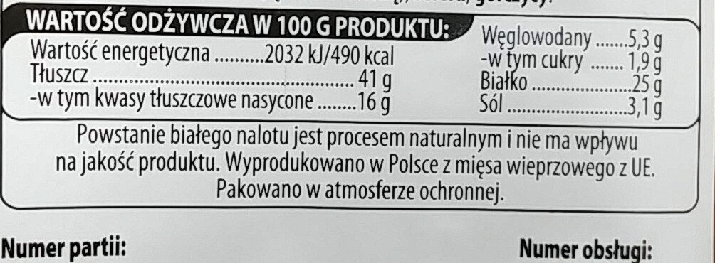 Kabanos Chili - Nutrition facts - pl