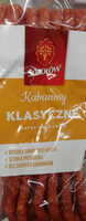 Kabanosy klasyczne wieprzowo-wołowe, drobno rozdrobnione, wędzone, parzone, suszone. - Product - pl