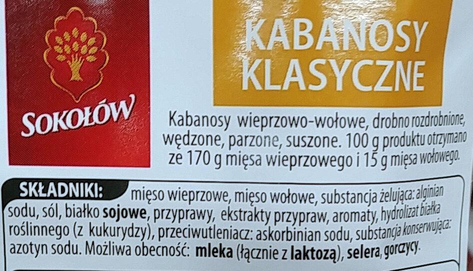 Kabanosy klasyczne wieprzowo-wołowe, drobno rozdrobnione, wędzone, parzone, suszone. - Ingredients - pl