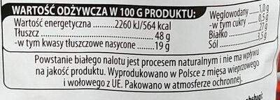 Kabanosy klasyczne wieprzowo-wołowe, drobno rozdrobnione, wędzone, parzone, suszone. - Wartości odżywcze - pl