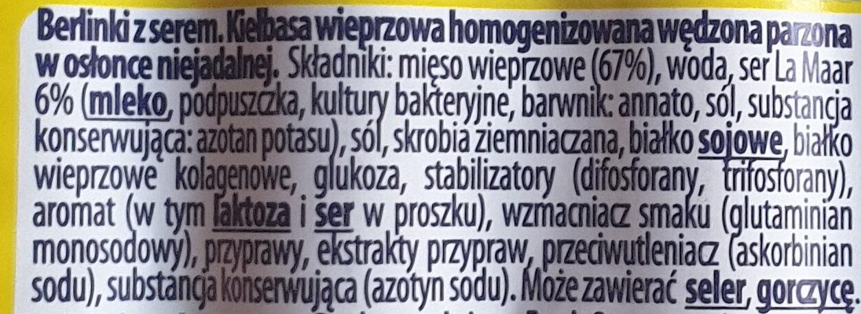 Berlinki z serem - Składniki - pl