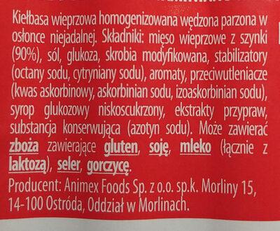 Kiełbasa wieprzowa homogenizowana wędzona parzona w osłonce niejadalnej. - Składniki - pl