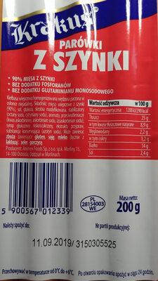 Kiełbasa wieprzowa homogenizowana wędzona parzona w osłonce niejadalnej. - Wartości odżywcze - pl