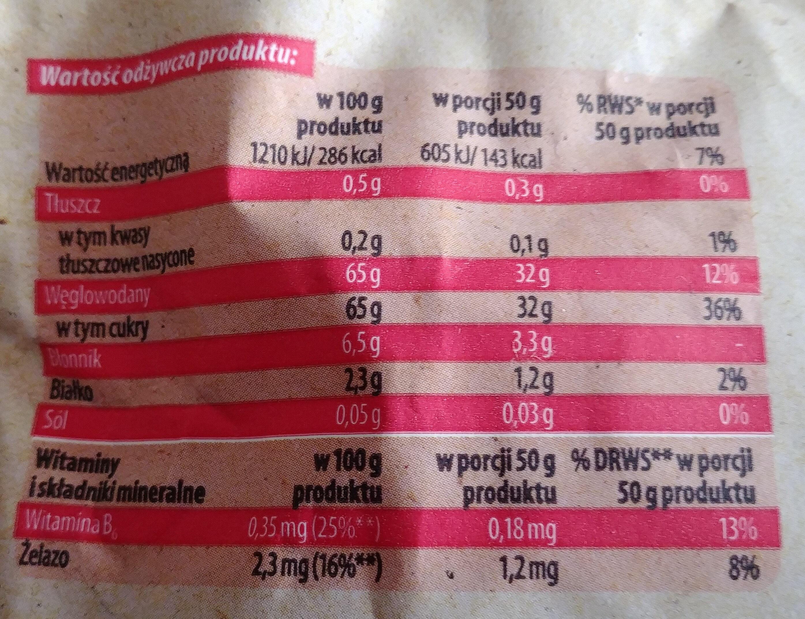 Rodzynki hetmańskie bezpestkowe Thompson - Informations nutritionnelles