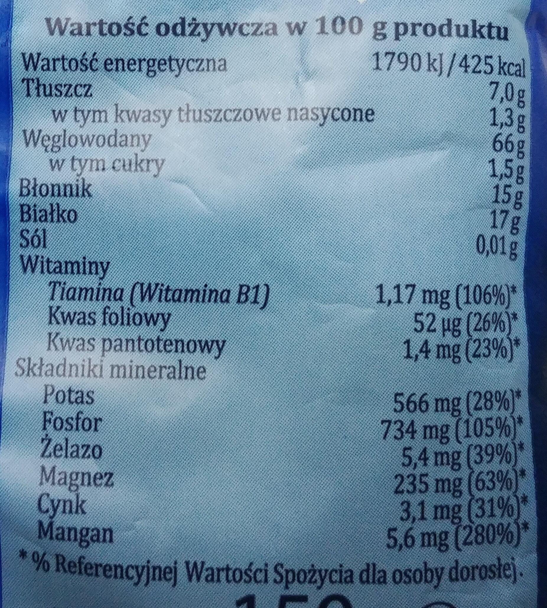 Otręby owsiane - Voedingswaarden - pl
