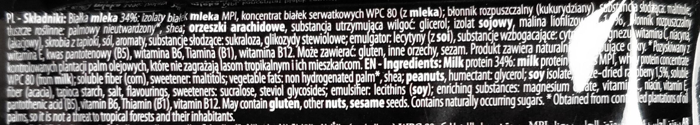 Baton proteinowy 33% wanilia malina - Składniki - pl