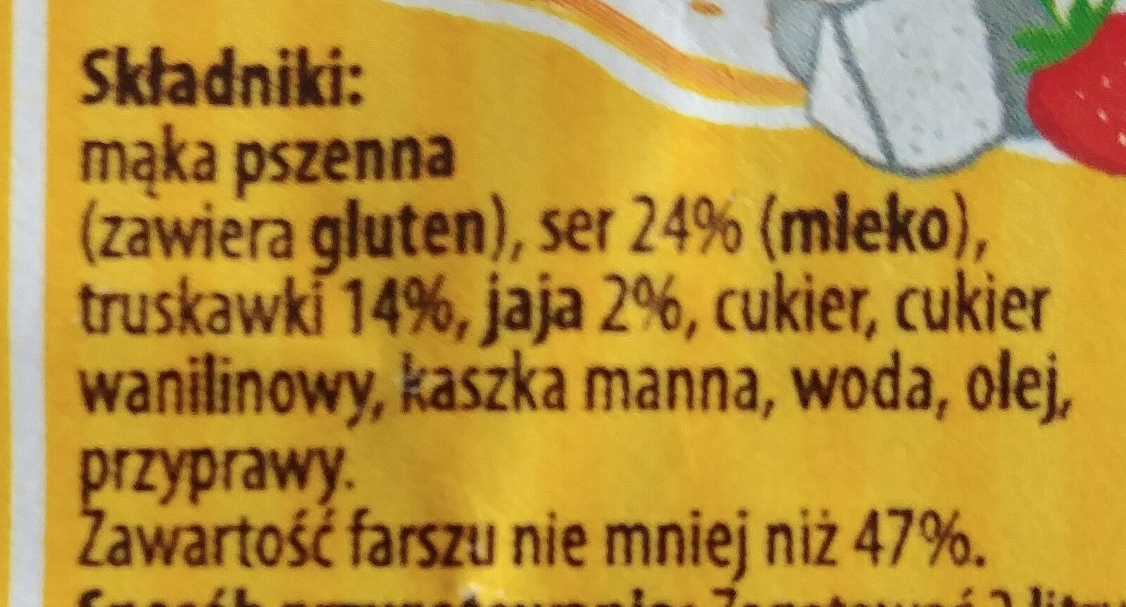 Pierogi z serem i truskawkami - Składniki